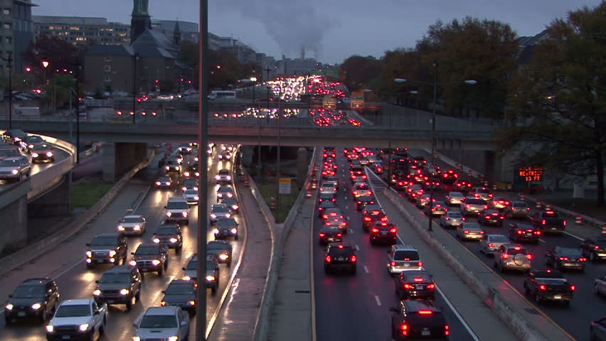 WASHINGTON D.C. - CIRCA 2009 Heavy traffic at dusk on the freeway in Washington D.C. circa 2009