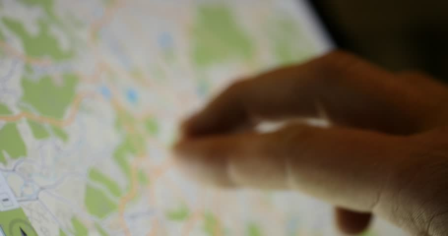 Using a map on a tablet touchscreen device to navigate