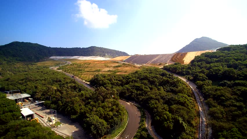 Aerial of Hong Kong landfill, the size of a small mountain, future apartment building site!! #13379234
