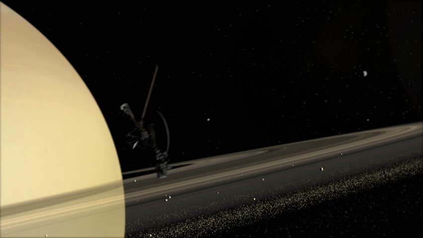Voyager space probe orbits Saturn