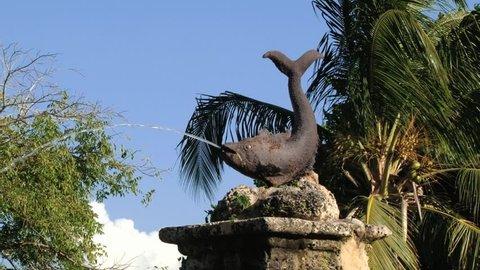 CASA DE CAMPO, DOMINICAN REPUBLIC – NOVEMBER 11, 2012: Exterior detail of the fountain in Casa de Campo, Dominican republic.