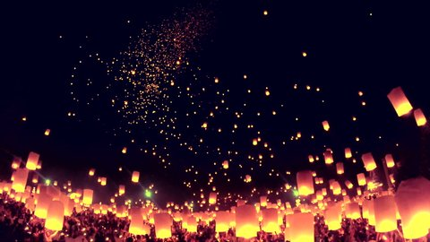 Yee Peng Festival, Loy Krathong celebration with more than a thousand floating lanterns in Chiangmai, Thailand