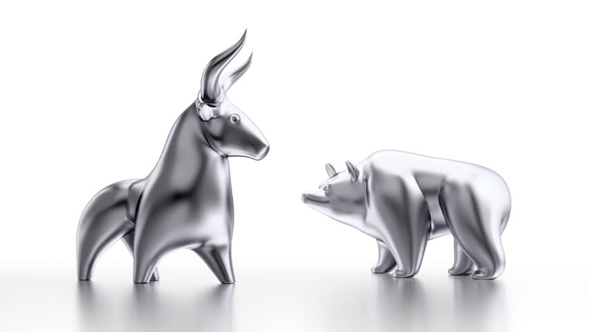 Cartoon Bull & Bear. Metallic statuettes of a bull and a bear as metaphoric stock market 'players'. 3D rendered cyclical 'seamless' turntable on white background. | Shutterstock HD Video #13396229