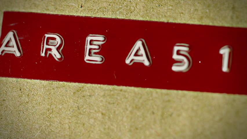 Area 51 text label, top secret concept