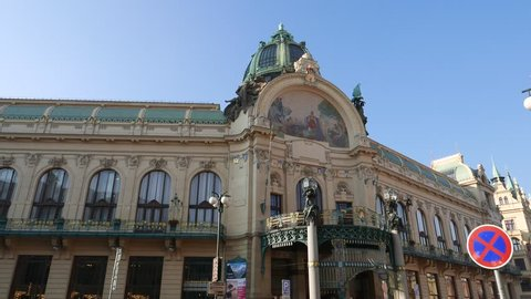 PRAGUE, CZECH REPUBLIC -NOV 3, 2015:  Art nouveau building in Prague, The Municipal House, theater and opera house at the Republic Square (Nam Republiky), Prague (Praha), Czech Republic.