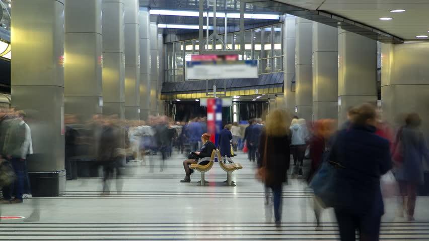 MOSCOW, RUSSIA - JUNE 14: modern subway station. Metro vistavochnaya timelapse, Moscow, Russia 4K | Shutterstock HD Video #13452902