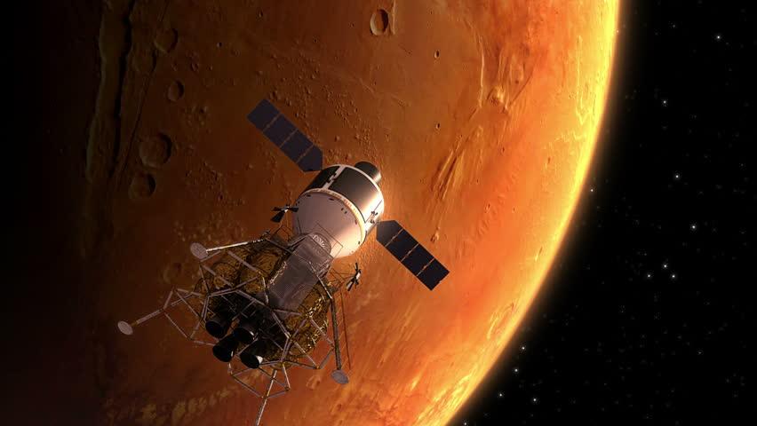 Interplanetary Space Station Orbiting Mars. 3D Animation.  | Shutterstock HD Video #13456403