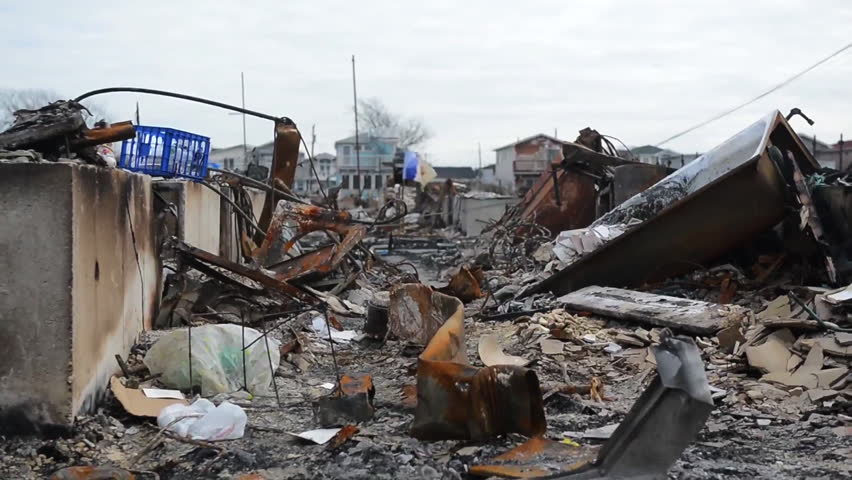 CIRCA 2010s - The Breezy Point area of Queens New York is devastated by Hurricane Sandy.