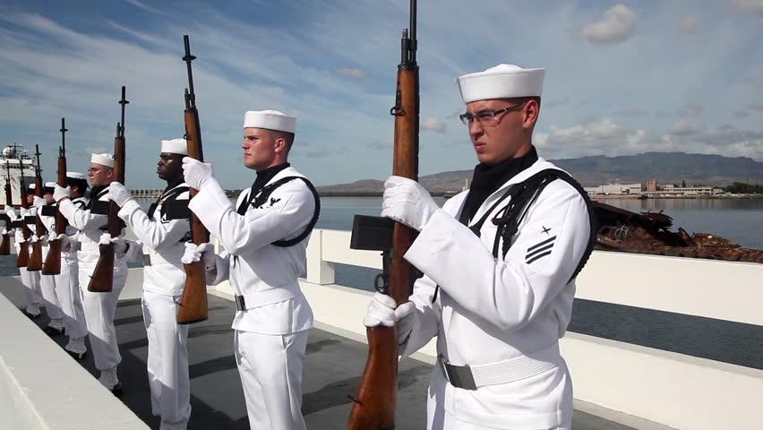 CIRCA 2010s - The United States Navy Honor Guard performs at Pearl Harbor, Hawaii.