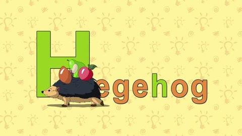 Hedgehog. English ZOO Alphabet - letter H Animation English alphabet. Letter H and word Hedgehog. Handmade animation.