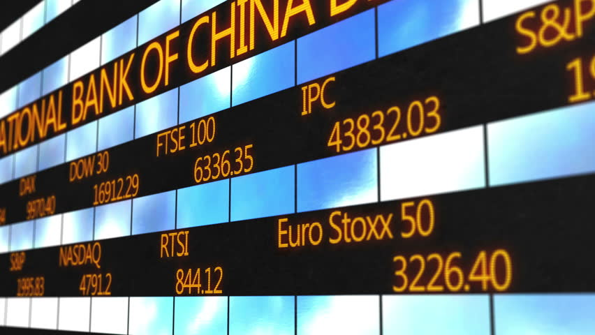 Names of world major stock exchanges, market quotes running on electronic ticker   Shutterstock HD Video #13519532