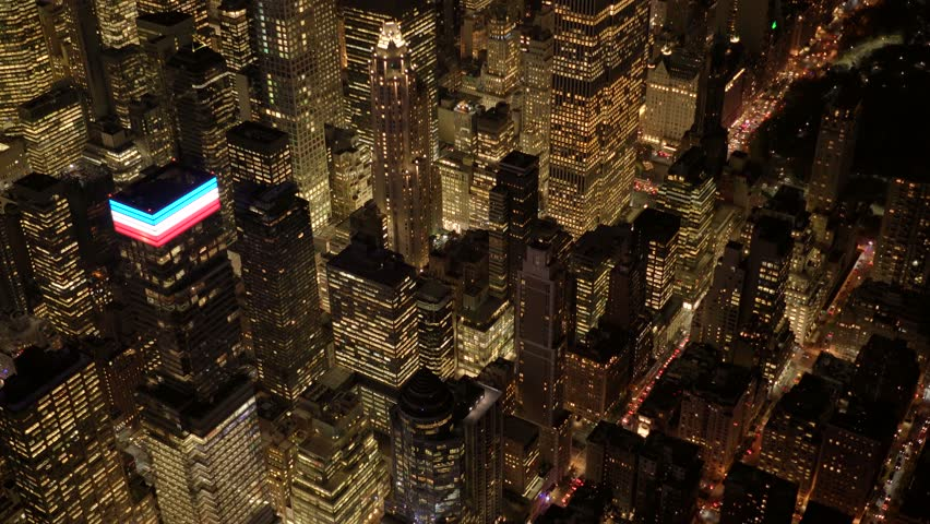 Aerial view of new york city skyline at night. high rise real estate buildings background. urban business district blocks  | Shutterstock HD Video #13541990