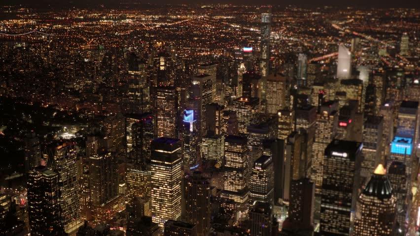 Establishment shot of big city metropolis at night. illuminated cityscape skyline background | Shutterstock HD Video #13542425