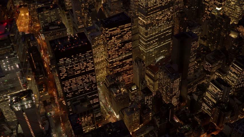 Establishment shot of big city metropolis at night. illuminated cityscape skyline background | Shutterstock HD Video #13542452