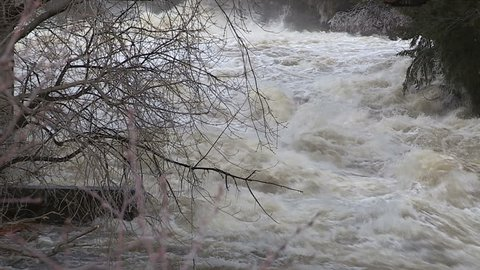 Huntsville, Muskoka, Ontario, Canada April 2014 Severe spring flooding in Huntsville Muskoka ontario Canada