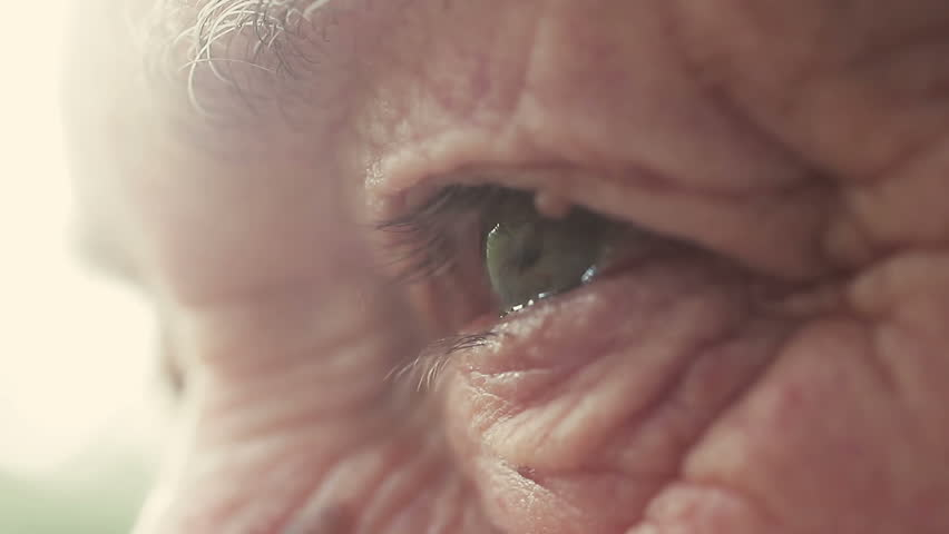 Closeup portrait on eyes of elderly man with sun back light: look, wrinkled man
