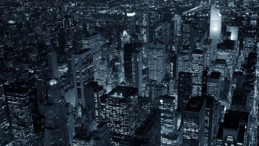 Helicopter establishment shot of new york city skyline at night. urban metropolis background. shot on red epic 4K | Shutterstock HD Video #13553969