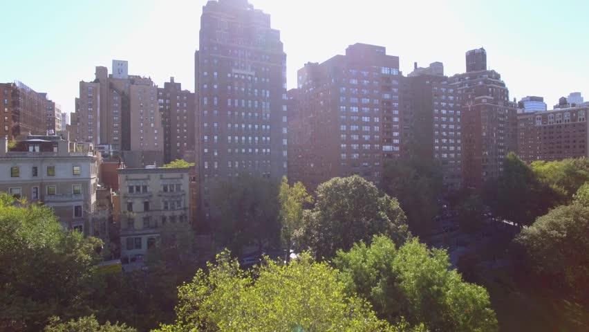 Aerial establishment shot of new york city skyline at sunset light. business buildings district | Shutterstock HD Video #13560203