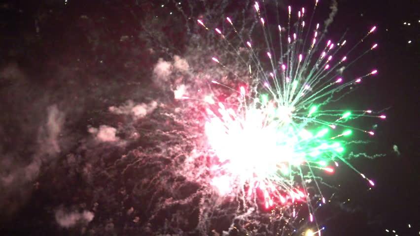 4K fireword display lights on dark night sky   Shutterstock HD Video #13562909