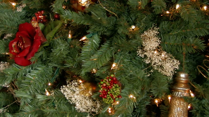 Christmas tree trimmed with decorations and ornaments | Shutterstock HD Video #135832