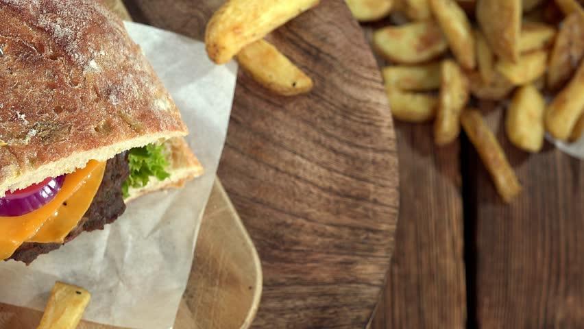 Chiabatta Burger (seamless loopable) | Shutterstock HD Video #13599338