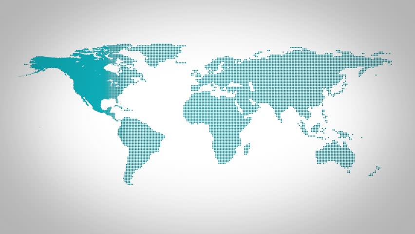 World map for news intro emerging from tiny particles