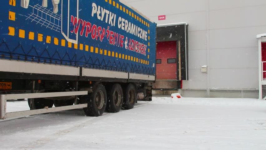 Parking unloading cargo from truck to warehouse.  28 November 2015 Novosibirsk   Shutterstock HD Video #13620506