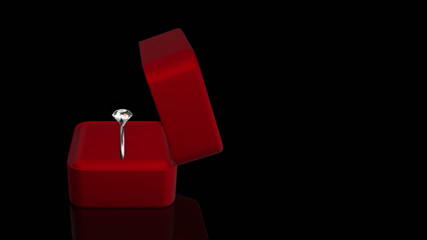 Animation of diamond ring in gift box for jewelry. Background for movies about proposal of wedding or declaration of love.   Shutterstock HD Video #13623191