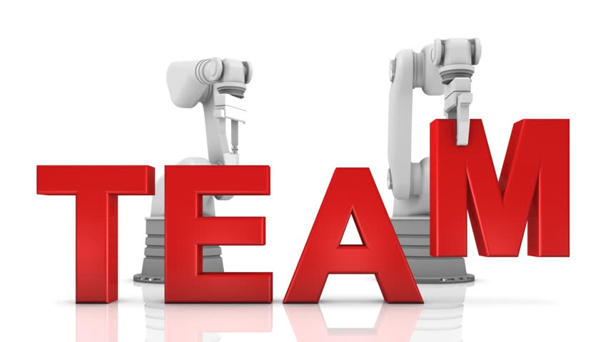 Industrial robotic arms building TEAM word isolated on white background | Shutterstock HD Video #1364605