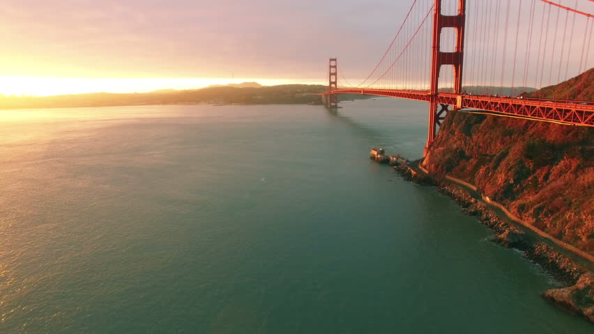 4K Aerial drone shot San Francisco below to above golden gate bridge