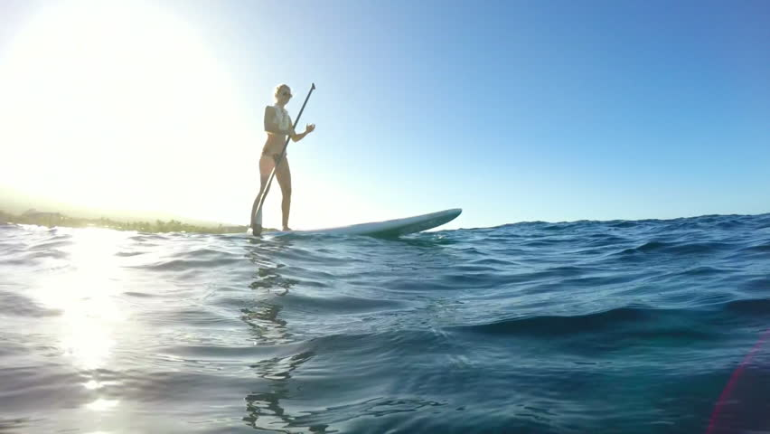 Young Attractive Woman Stand Up Paddle Boarding in Blue Ocean   Shutterstock HD Video #13652870