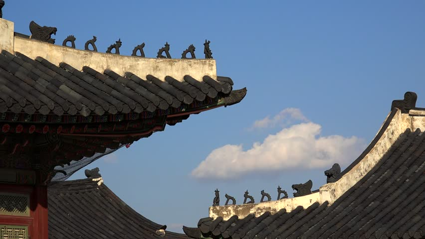 Traditional Korean Japsang Guardian Figures on the roof of pavilions in the Gyeongbokgung Palace. Seoul, South Korea | Shutterstock HD Video #13663358