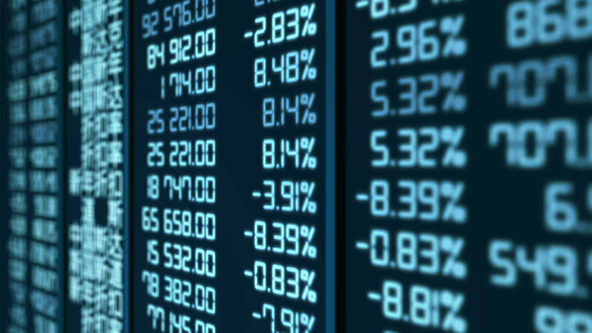 Stock market crash in China, pricing and quotes data updates on electronic board.  Financial market indicators reflecting supply and demand, trading of currencies and bonds, exchange rate statistics