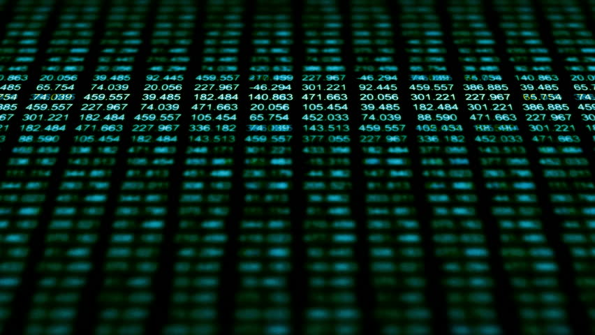 Data Storm 0546: A data grid of streaming numbers (Loop).   Shutterstock HD Video #13683101