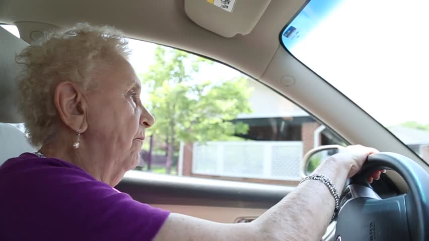 Elderly woman drives a car #13696064