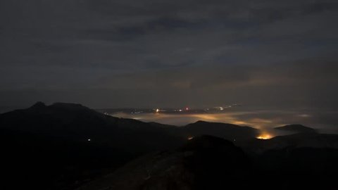 City lights - night view from the mountains