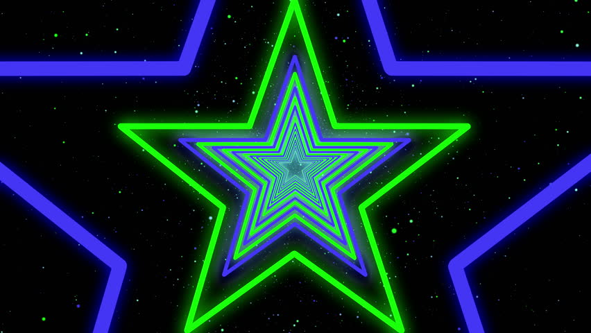 Star Neon Streaks Disco Led Laser Loop Background Energy Violet Electric Light Night Party Green Backdrop Blue Shine Colourful. Very useful for backdrops  | Shutterstock HD Video #13777106