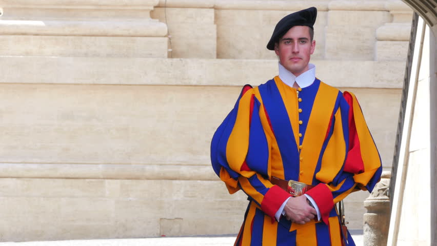 VATICAN CITY, AUGUST 2015: swiss guards of pope