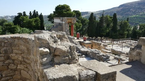 A view over palace ruins at the Minoan site of Knossos which was at its height in about 2000 BC.