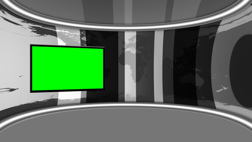 BW Grey Virtual Studio looping animation with GreenScreen monitor. 16bit Color render for better keying and experience.Green is pure green so keying is only one-click, no extra settings needed.