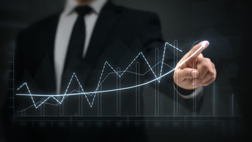 Businessman drawing an ascending financial chart. Touchscreen. 2 colors in 1 file. White and blue. Businessman drawing a bright arrow showing increasing profits in a financial chart. Business success. | Shutterstock HD Video #13806683