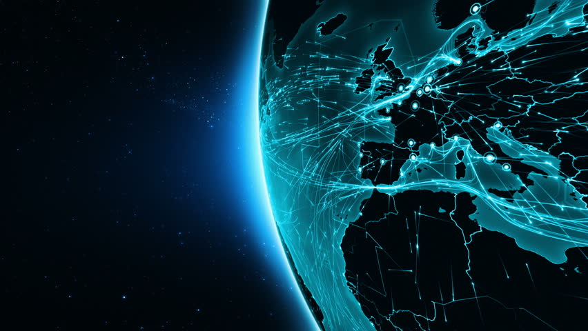 Earth connections. Africa. Aerial, maritime, ground routes and country borders. Animation of the Earth with bright connections. 3 shots in 1 file. Dolly and locked. Cyan. | Shutterstock HD Video #13806737