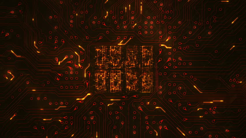 Futuristic circuit board with moving electrons. Loopable. Technology. Orange. 2 videos in 1 file. Locked shot with CPU animation. More color options in my portfolio. | Shutterstock HD Video #13807055