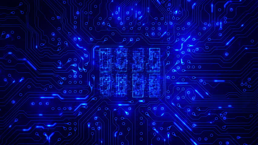 Futuristic circuit board with moving electrons. Loopable. Technology. Blue. Dolly in with CPU animation. More color options in my portfolio.   Shutterstock HD Video #13807082
