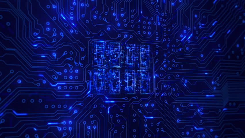 Futuristic circuit board with moving electrons. Loopable. Technology. Blue. Lateral dolly with CPU animation. More color options in my portfolio.   Shutterstock HD Video #13807229