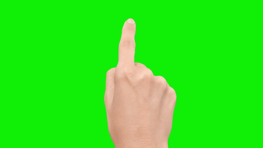 Set of 13 hand touchscreen gestures, showing the uses of computer touchscreen, mobile phone, tablet or trackpad. Female hand. Green screen. Mobile phone.