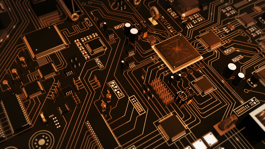Futuristic circuit board with moving electrons. Loopable. Technology. Gray-orange. Flying over a circuit board ending on the CPU with blue electrons. This video is loopable from frame 588 to 851. Royalty-Free Stock Footage #13807709