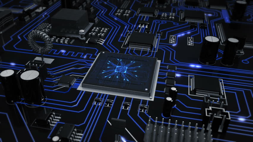 Flying over a futuristic circuit board ending on the CPU with blue moving electrons. Loopable from frame 588 to 851. Technology background. Grey-Blue. | Shutterstock HD Video #13808399
