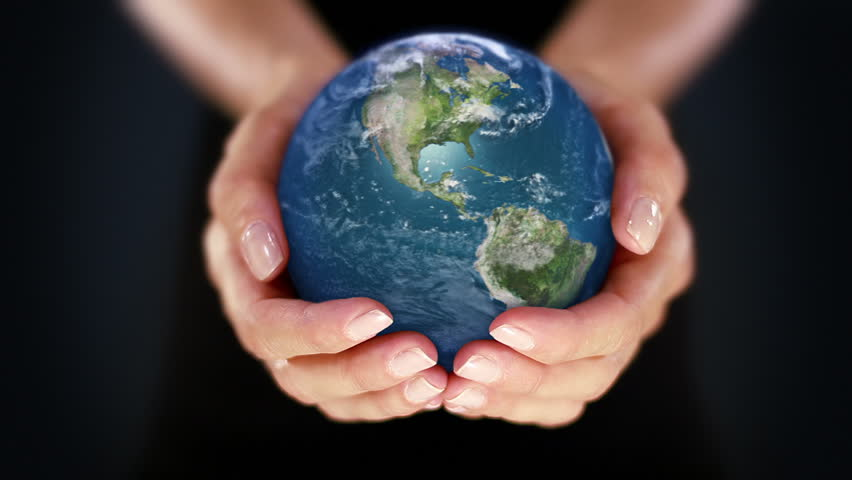 Female hand holding a realistic Earth. Starting in Europe. Hands with spinning Earth. The Earth globe start showing Europe and it is loopable from frame 98 to frame 547.
