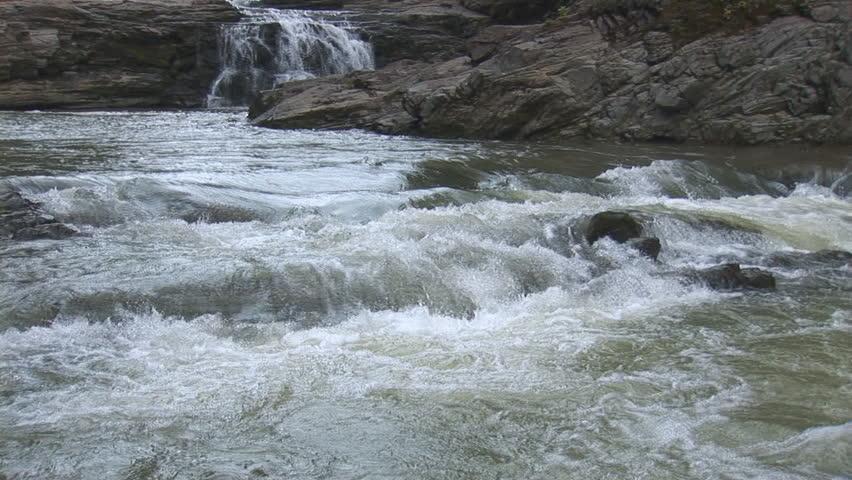 Waterfalls on a mountain river  | Shutterstock HD Video #1381090